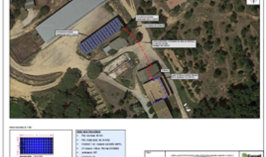 Instal·lació fotovoltaica de 38kWp per autoconsum a la granja Gimferrer, Caldes de Malavella.